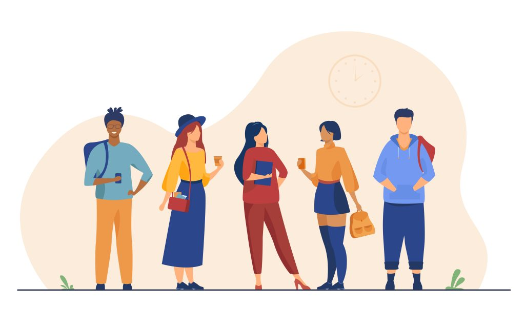 Group of college or university students hanging out. Happy teen girls and guys standing together, holding books, backpacks. Vector illustration for studying, school friends, fashion, youth concept